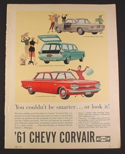 Magazine Ad for 61 Chevy Corvair Car, 3 Models, 1961, Monza Club Coupe, Lakewood 700