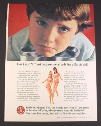 Magazine Ad for Twist N Turn Barbie Doll, Trade in Old Barbie, 1967, 8 1/4 by 11