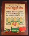 Magazine Ad for Del Monte Sweet Corn, Cross Stitch Sampler, 1962, 8 1/4 by 11
