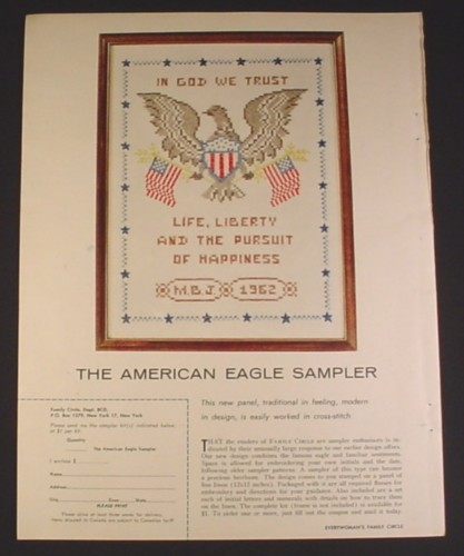 Magazine Ad for American Eagle, Cross Stitch Sampler, 1962, 8 1/4 by 11
