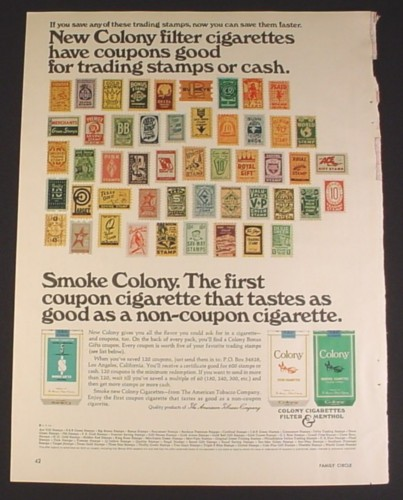 Magazine Ad for Colony Cigarettes, 50 Different Trading Stamps, 1966, 8 1/4 by 11