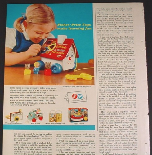 Magazine Ad for Fisher Price Goldilocks & # Bears Playhouse, 1968, Portion of a 8 1/4 by 11 page