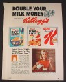 Magazine Ad for Kellogg's Cereals, Double Your Milk Money, 1968, 8 1/4 by 11