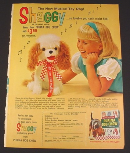 Magazine Ad for Purina Dog Chow Shaggy Musical Dog Toy Offer, 1966, 8 1/4 by 11