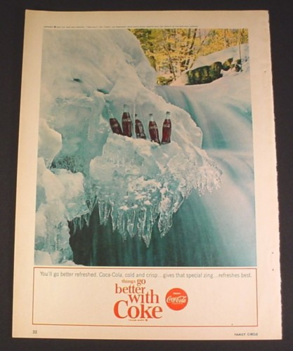Magazine Ad for Coca-Cola Coke Bottles in Frozen Waterfall, 1964, 8 1/4 by 11