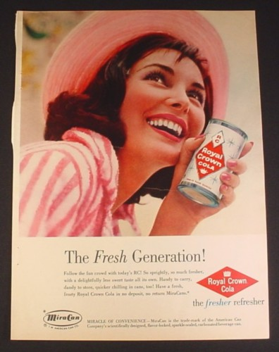 Magazine Ad for Royal Crown Cola, RC, Woman Holding a Can, 1960, 8 1/4 by 11