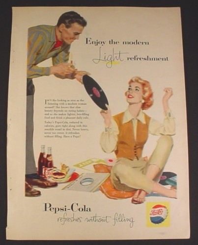 Magazine Ad for Pepsi-Cola Pepsi, Woman on Floor with Records, 1957, 8 1/4 by 11