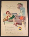 Magazine Ad for Pepsi-Cola Pepsi, Couple Having Beach Cookout, 1957, 8 1/4 by 11