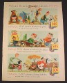 Magazine Ad for S.O.S. SOS Cleaning Pads, Cartoons, Camping Fishing Barbecue, 1957, 8 1/4 by 11