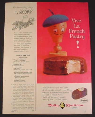 Magazine Ad for Dolly Madison Cakes, Vive La French Pastry, 1963, 2/3 of an 8 1/4 by 11 page