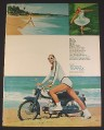 Magazine Ad for Tampax, Woman in White Clothes on Motorcycle, Run Whirl Roar, 1966, 8 1/4 by 11