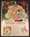 Magazine Ad for McCormick Food Colors, Lots of Christmas Cookies, 1962, 8 1/4 by 11