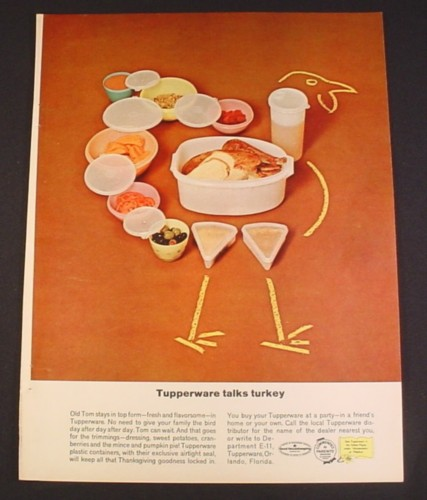 Magazine Ad for Tupperware Containers laid Out in Turkey Pattern, 1962, 8 1/4 by 11