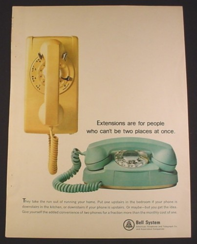 Magazine Ad for Bell Telephone, 2 Models, Yellow & Turquoise, 1965, 8 1/4 by 11