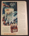 Magazine Ad for Hires Root Beer, 6 Pack in Carton, Bottles & Pitcher, 1965, 2/3 of 8 1/4 by 11 page