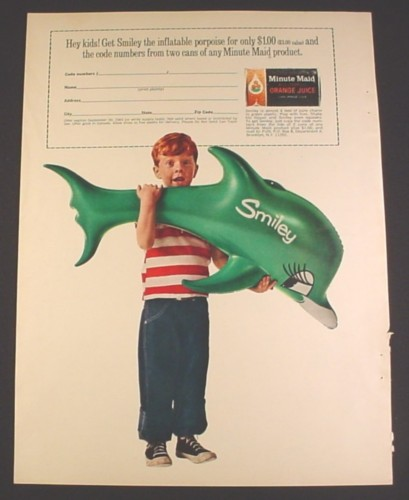 Magazine Ad for Smiley the Inflatable Porpoise Toy, Offer by Minute Maid, 1965, 8 1/4 by 11