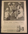 Magazine Ad for Curad Bandages, Little Boy with 4 Little Girl Nurses, 1962, 8 1/4 by 11