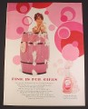 Magazine Ad for Lustre Creme Pink Shampoo, Woman in Pink Barrel, 1967, 8 1/4 by 11