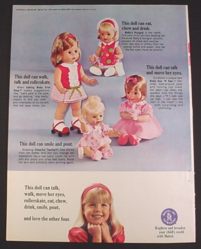 Magazine Ad for Mattel Dolls, Cheerful Tearful, Baby's Hungry, Baby Say N See, Baby First Step, 1967