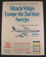 Magazine Ad for Miracle Whip Trip To Europe Sweepstakes, Sabena Airlines Jet, 1967, 8 1/4 by 11