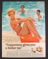 Magazine Ad for Coppertone, Tippi Hedren Actress in Bathing Suit, Celebrity Endorsement, 1967