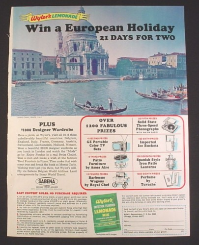Magazine Ad for Wyler's Lemonade Mix, European Holiday Contest, 1967, 8 1/4 by 11
