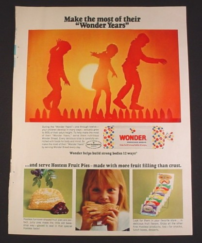 Magazine Ad for Wonder Bread & Hostess Fruit Pies, Store Display, 1967, 8 1/4 by 11