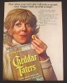 Magazine Ad for Cheddar Taters Potato Snack, Tongue Ends Up With A Tingle, 1973