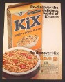 Magazine Ad for Kix Crispy Corn puffs Cereal, Box & Bowl, 1973