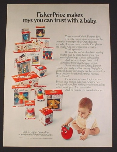 Magazine Ad For Fisher Price Crib Playpen Baby Toys In Boxes 1973
