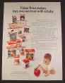 Magazine Ad for Fisher Price Crib & Playpen Baby Toys in Boxes, 1973