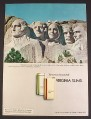 Magazine Ad for Virginia Slims Cigarettes, Woman's Face on Mt Rushmore, 1973