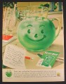 Magazine Ad for Kool-Aid, Green Pitcher with Smile, 1960