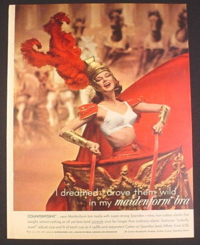 Magazine Ad for Maidenform Bra, Woman on Roman Chariot, 1961