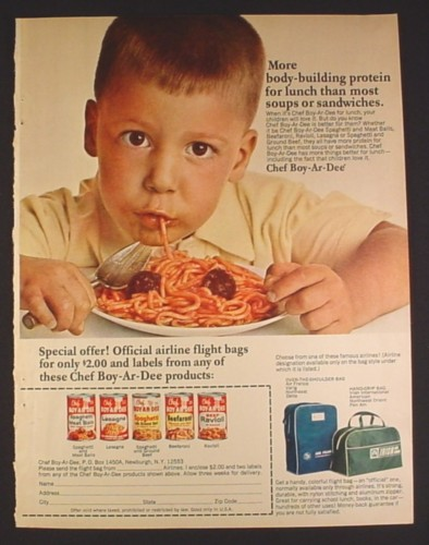 Magazine Ad for Chef Boy-Ar-Dee Airline Flight Bag Offer, 1965