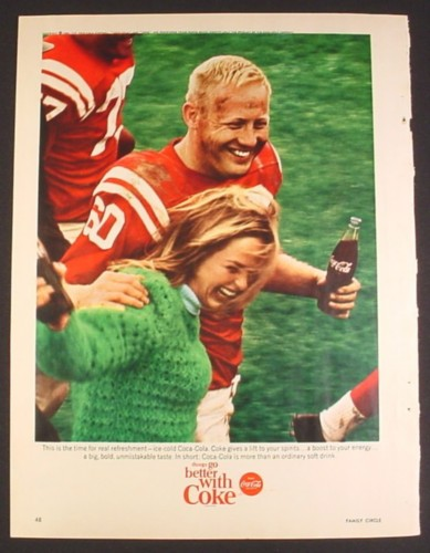 Magazine Ad for Coca-Cola Coke, Football Player with Girl, 1965