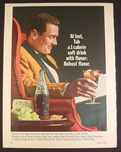Magazine Ad for Tab Soft Drink, Man in Red Chair with Glass & Bottle, 1965
