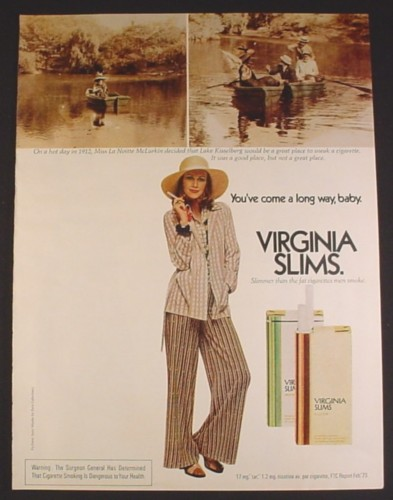 Magazine Ad for Virginia Slims Cigarettes, Woman in Row Boat, 1973