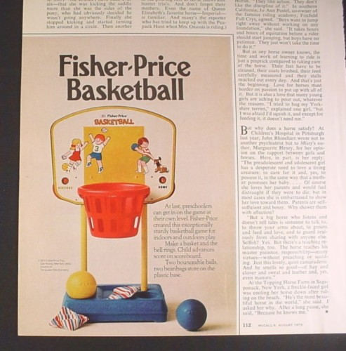 Magazine Ad for Fisher Price Basketball Game Toy, 1973