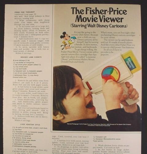 Magazine Ad for Fisher Price Movie Viewer Toy, Disney Cartridge, 1973