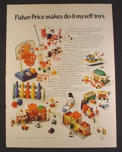 Magazine Ad for Fisher Price Toys, 1973, Farm Houseboat, Village, Circus, Camper, Viewer, Bowling