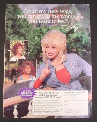 Magazine Ad for Dolly Parton Wig Line, 1998