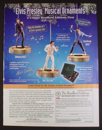 Magazine Ad for Elvis Presley Musical Christmas Ornaments, Bradford, 2002