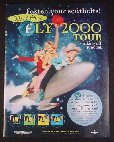 Magazine Ad for Dixie Chicks Fly 2000 Tour Promotion, 2000