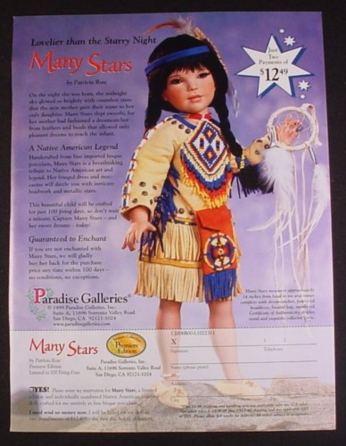 Magazine Ad for Many Stars Native American Doll, Paradise Galleries, 2000