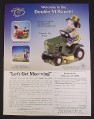 Magazine Ad for Let's Get Moo-Ving, Mary's Moo Moos, Cow On John Deere Garden Tractor