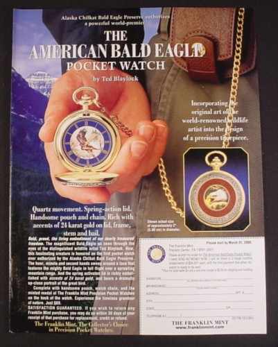 Magazine Ad for American Bald Eagle Pocket Watch, Franklin Mint, 2000