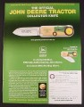 Magazine Ad for Official John Deer Tractor Collector Knife, Franklin Mint, 2000