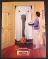 Magazine Ad for PayDay Chocolate Bar, Elephant in Ghost Halloween Costume, 2000
