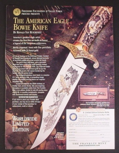 Magazine Ad for American Eagle Bowie Collector Knife, Franklin Mint, 2000